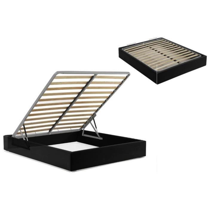 sommier coffre 160x200 cm noir achat vente sommier cdiscount. Black Bedroom Furniture Sets. Home Design Ideas