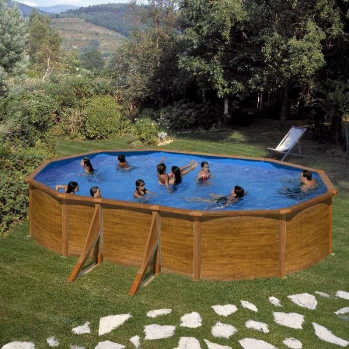 Piscine hors sol acier aspect bois alto eco ovale 5m x 3m for Piscine aspect bois