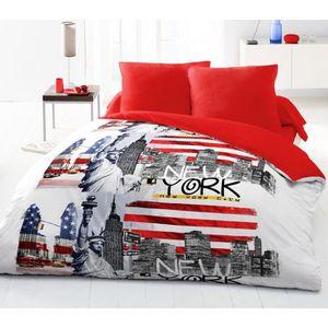 housse de couette new york 220x240 achat vente housse de couette new york 220x240 pas cher. Black Bedroom Furniture Sets. Home Design Ideas