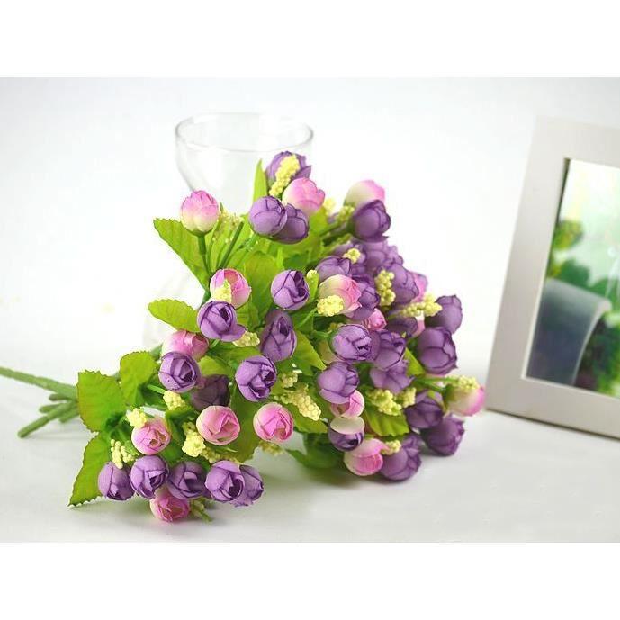 Demarkt fleurs plante artificielles de rose simulation c r monie f te violet - Plantes artificielles discount ...