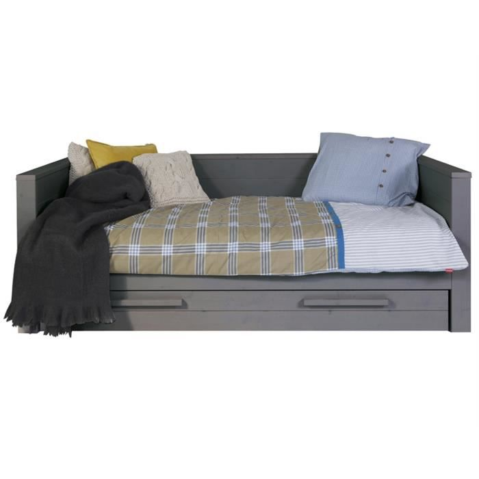 Lit canap pin massif 90x200 avec tiroirs aaron anthracite for Canape avec lit tiroir