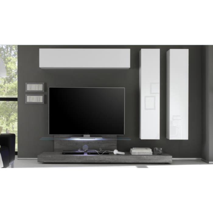 Ensemble tv lumineux blanc laqu et bois gris quattro for Meuble tv gris bois