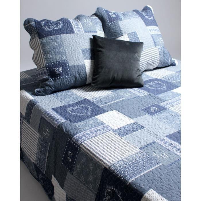couvre lit boutis 2 places coeur bleu bleu achat vente jet e de lit boutis cdiscount. Black Bedroom Furniture Sets. Home Design Ideas