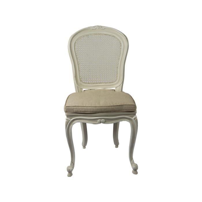 chaise cann e en acajou et coussin en lin claire achat vente chaise beige cdiscount. Black Bedroom Furniture Sets. Home Design Ideas