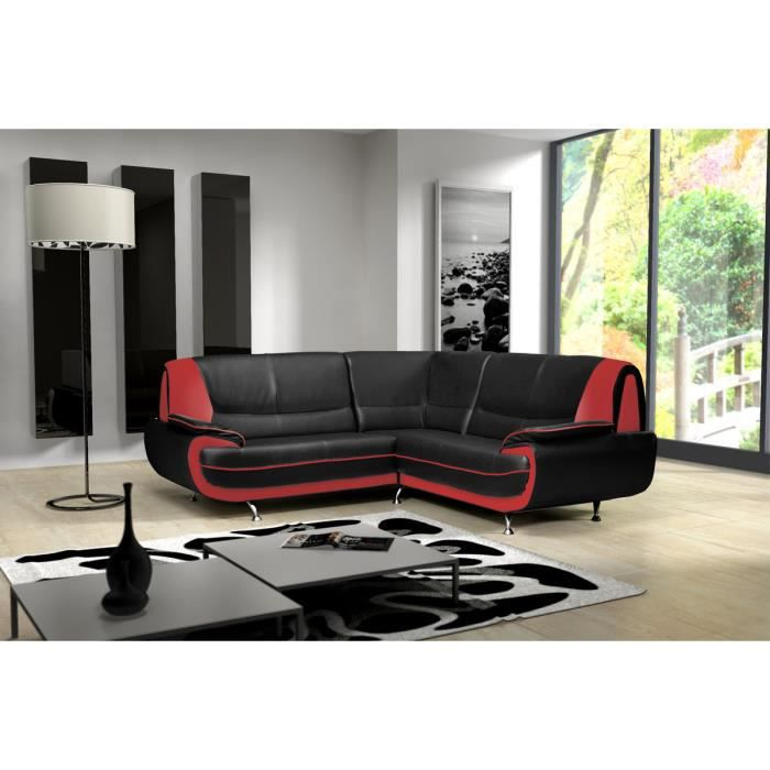 Canap d angle design en pu noir et rouge achat vente canap sofa div - Canape d angle rouge et noir ...