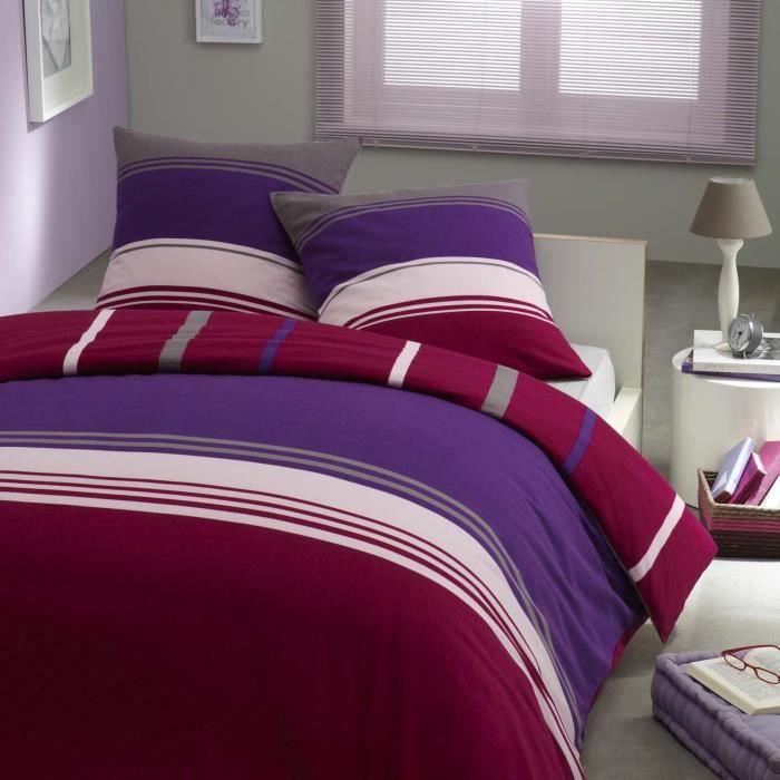 Parure housse de couette flanelle 100 coton violettine for Housse couette flanelle