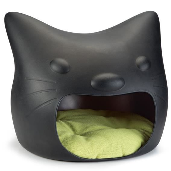 panier cave coussin lit pour chat 39 tete de chat 39 noir. Black Bedroom Furniture Sets. Home Design Ideas