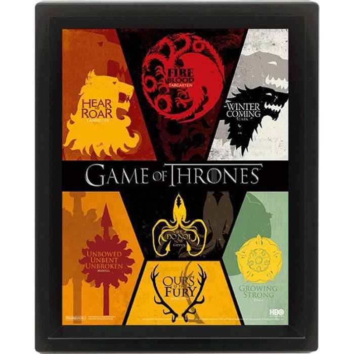Poster en 3d game of thrones blasons achat vente for Decoration murale game of thrones