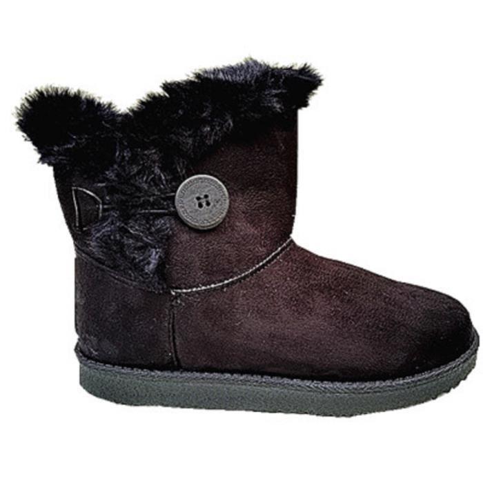 femme fille bottine boots botte chaussure fourr es fur plat noir b785 noir noir achat vente. Black Bedroom Furniture Sets. Home Design Ideas
