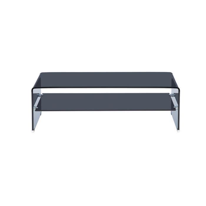 Table basse trendy verre noire achat vente table basse for Petite table basse noire