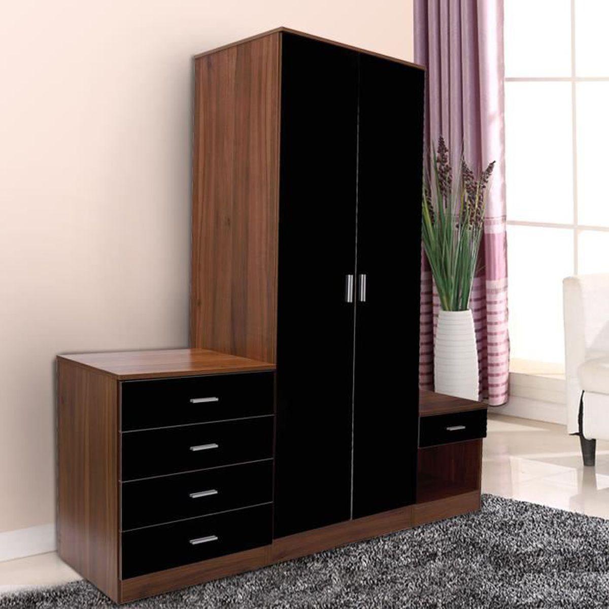 Ensemble meuble de chambre moderne 1 armoire de penderie for Meuble de chambre moderne