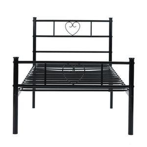 lit metal noir 90x190 achat vente lit metal noir 90x190 pas cher cdiscount. Black Bedroom Furniture Sets. Home Design Ideas