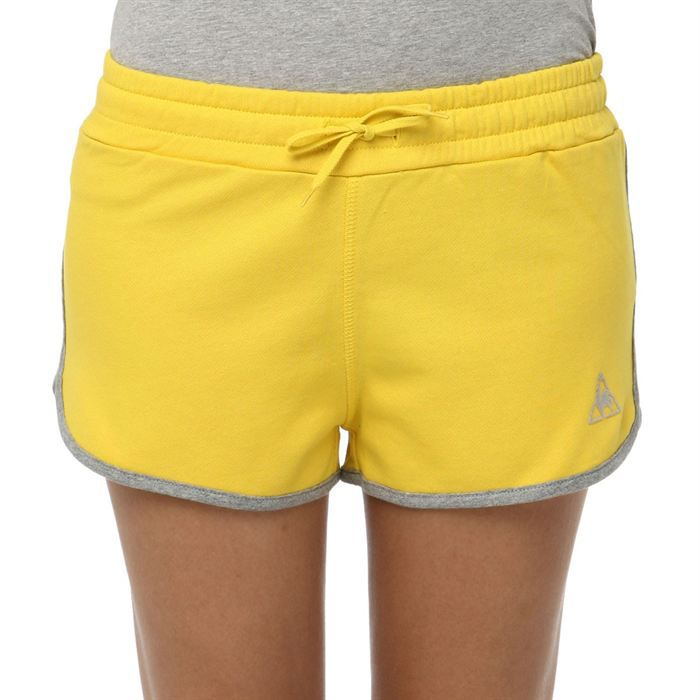 le coq sportif short super shorts femme jaune et gris achat vente short bermuda de sport. Black Bedroom Furniture Sets. Home Design Ideas