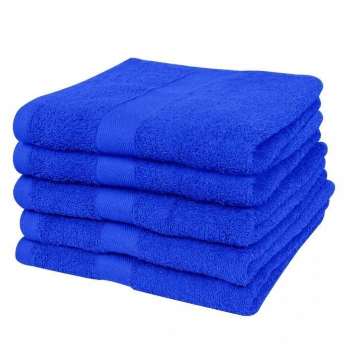 magnifique lot de 5 serviettes de bain bleu royal 70 x 140 cm 100 coton 500 g m achat. Black Bedroom Furniture Sets. Home Design Ideas