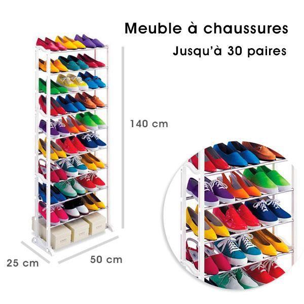 Meuble organisateur range chaussures 25 30 paires blanc - Meuble chaussure 30 paires ...