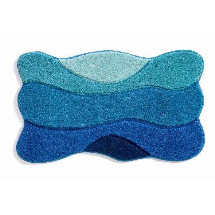 Tapis de bain 60 x 100 acrylique bleu fonc achat vente tapis bain cdis - Contour de bain acrylique ...