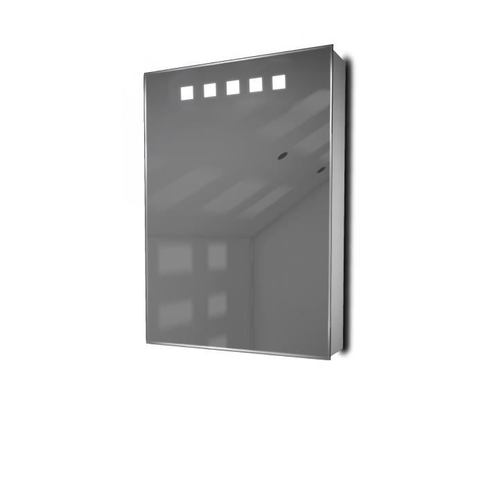 armoire de toilette avec capteur et prise rasoir int rieure k259w gris taille h 700mm x w. Black Bedroom Furniture Sets. Home Design Ideas