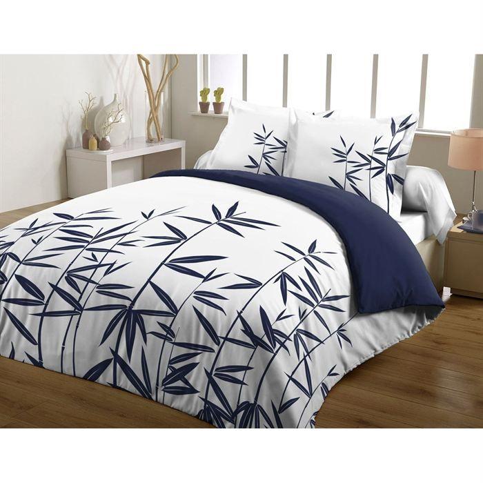 casatxu housse 220x240cm 2 taies bambous marine achat vente parure de couette cdiscount. Black Bedroom Furniture Sets. Home Design Ideas