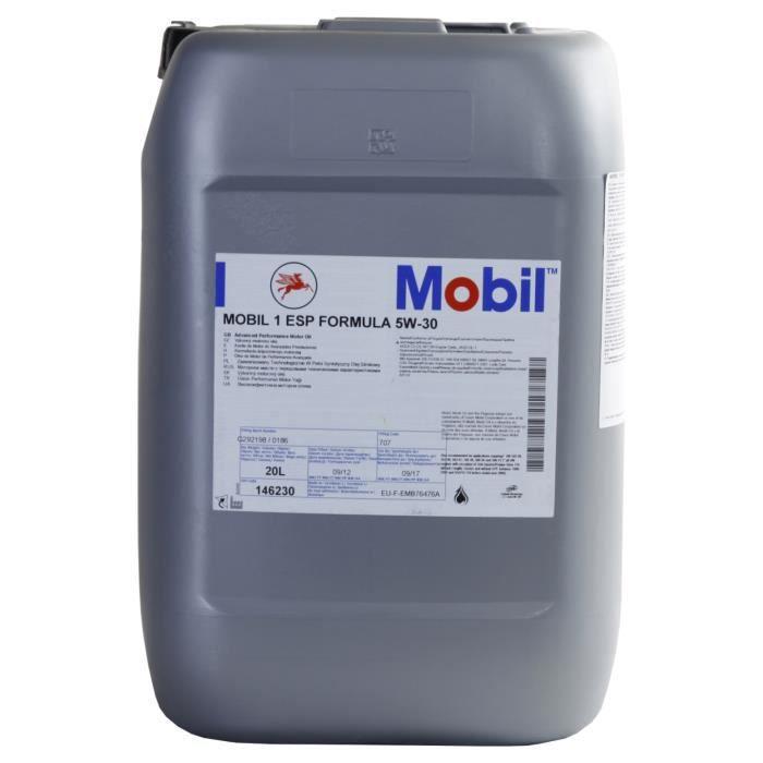 huile moteur mobil 1 esp formula 5w 30 20 litres bidon achat vente huile moteur mobil 1 esp. Black Bedroom Furniture Sets. Home Design Ideas