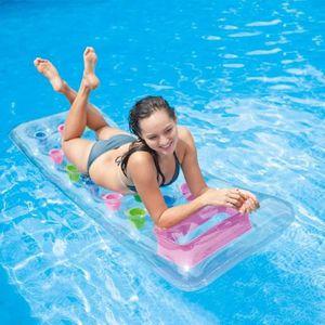 INTEX Matelas gonflable adulte piscine Transparent Poches 188 x 71 cm