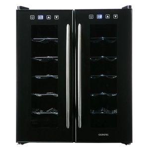 Cave à Vin de service - Capacité 24 bouteilles - Eclairage Intérieur - 10 Etagères Chromées - Thermostat Electronique - Affichage LED - 2 Zones de Températures - Porte double vitrage - Poignée en acier inoxydable - Niveau sonore : 48 dBa - Garantie 1 an -