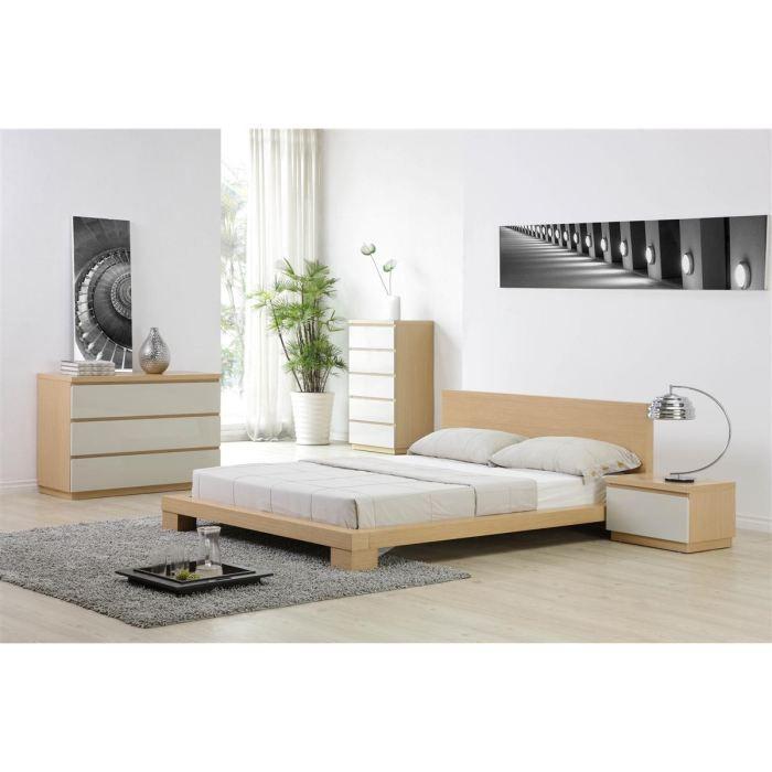 Adonis lit 140 cm d cor ch ne clair achat vente structure de lit adonis l - Tete de lit chene clair ...