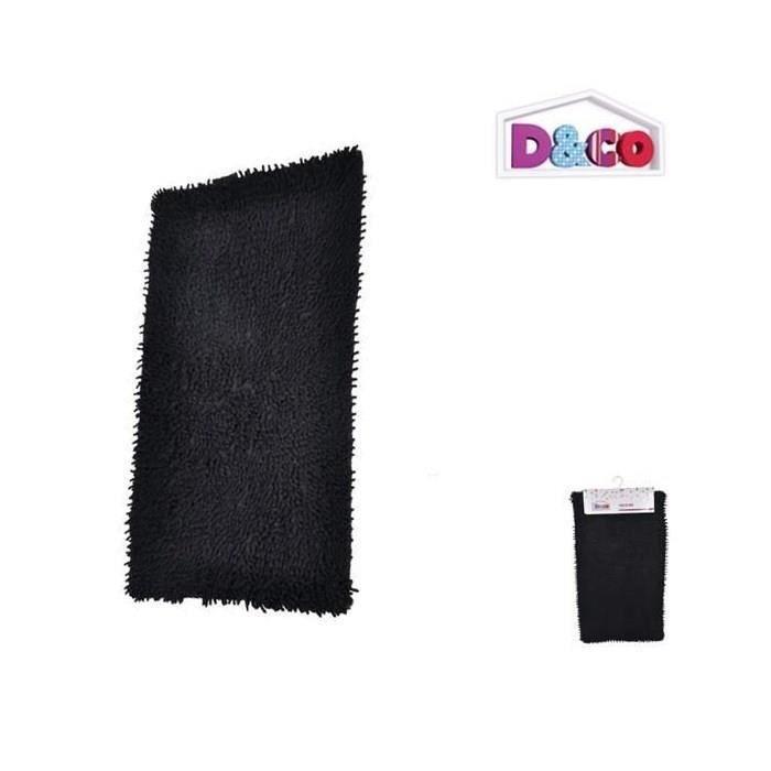 tapis de bain coton chenille noir 45x75cm achat vente tapis de bain coton cdiscount. Black Bedroom Furniture Sets. Home Design Ideas