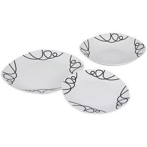 MÉNAGÈRE Service 18 pièces Arabesques en porcelaine noir