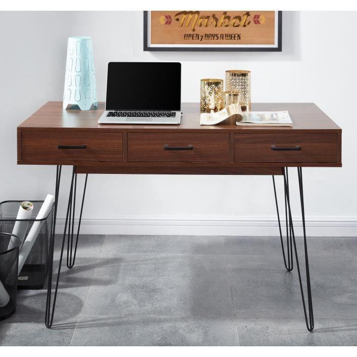 emiliette bureau 120 cm d cor noyer achat vente. Black Bedroom Furniture Sets. Home Design Ideas