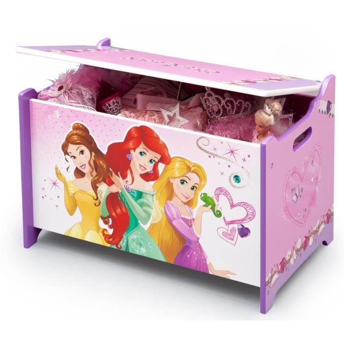 Disney princesses coffre jouets enfant en bois rose - Coffre a jouet rose ...