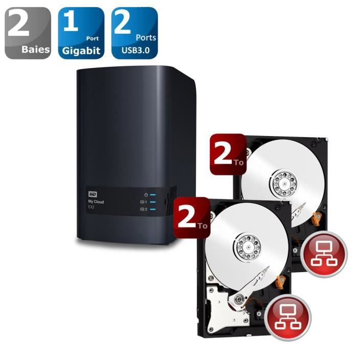 WD Red 2 To Achat / Vente serveur stockage nas WD EX2 + 2x WD Red
