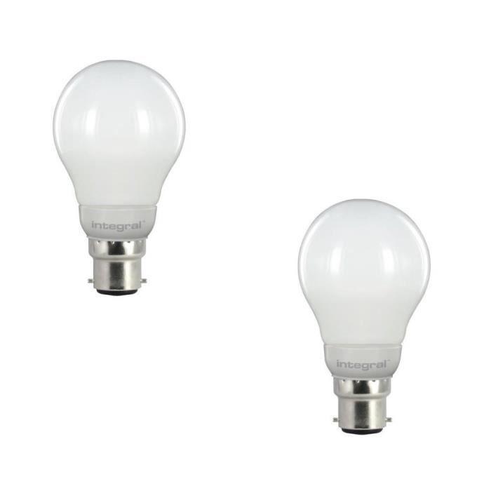 integral led lot de 2 ampoules led classic globe b22 5 5w quivalent 40w 470lm achat vente. Black Bedroom Furniture Sets. Home Design Ideas