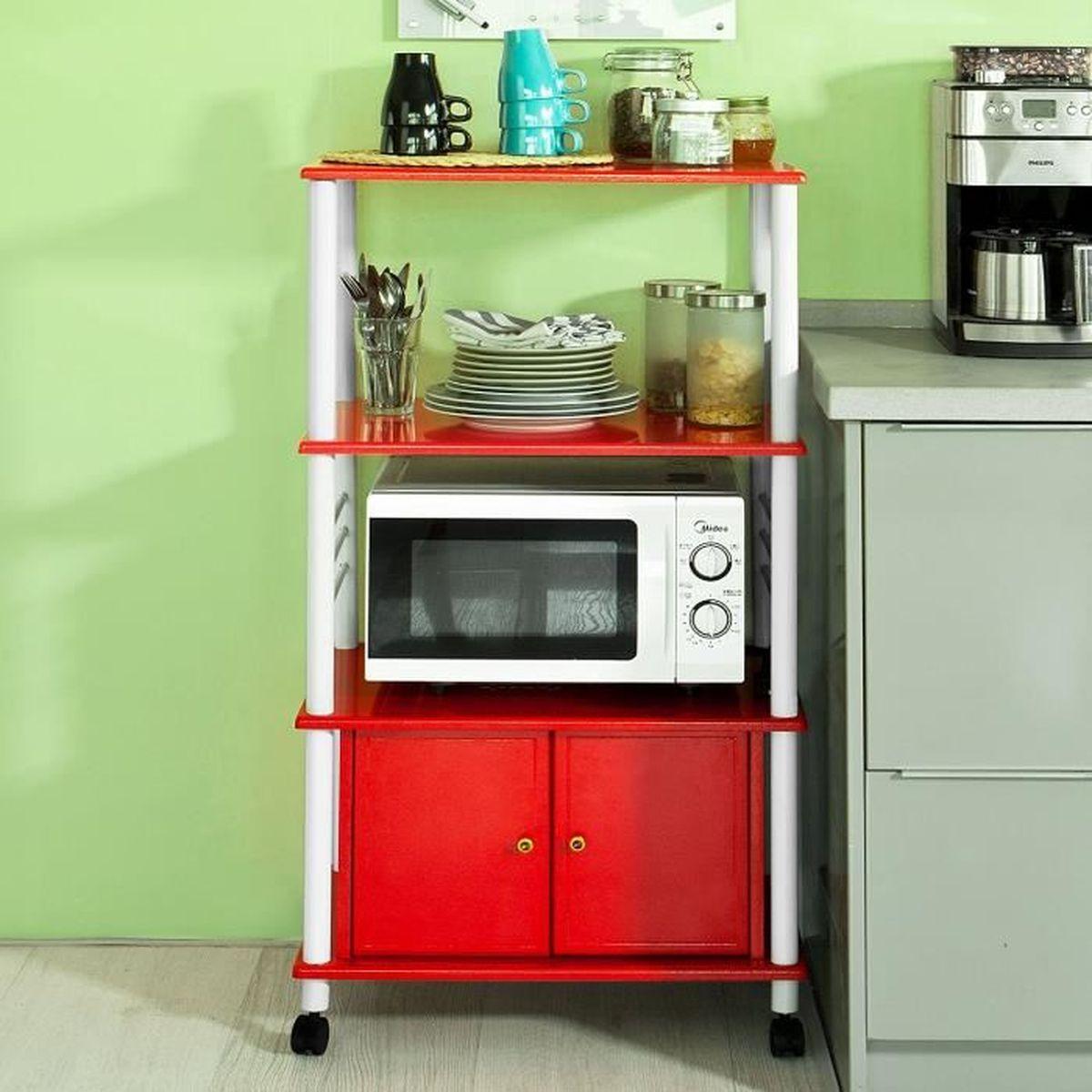 meuble rangement cuisine roulant en bois chariot de cuisine de service micro ondes achat. Black Bedroom Furniture Sets. Home Design Ideas