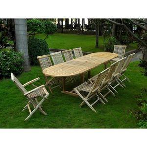 maison r table de jardin en teck massif ovale