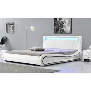 cadre de lit blanc 140x190 achat vente cadre de lit blanc 140x190 pas cher cdiscount. Black Bedroom Furniture Sets. Home Design Ideas