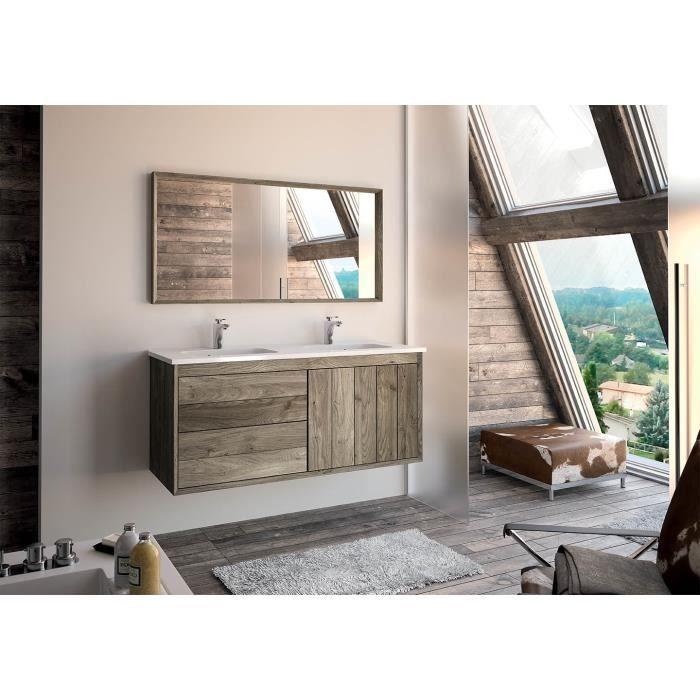 Refuge meuble sous vasque 120 cm a suspendre plan double for Meuble sous vasque 120