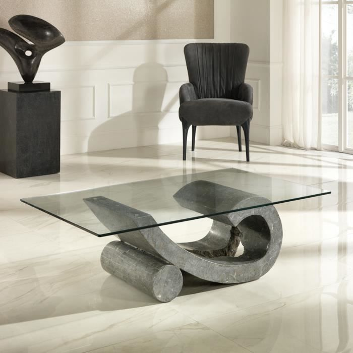 Table basse de salon en verre et pierre fossile madison achat vente table - Table salon verre design ...