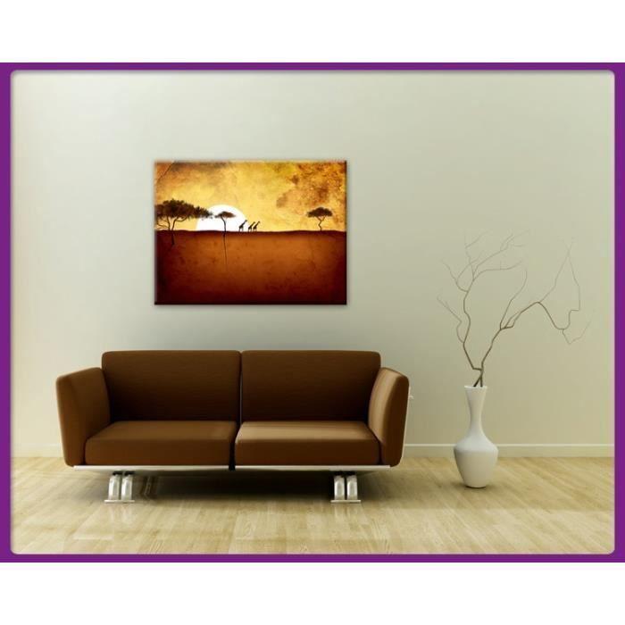 Bilderdepot24 impression sur toile girafes devant coucher for Tableau impression sur toile