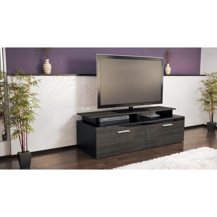meuble tv design noir et bois weng 140 cm achat vente meuble tv meuble tv design noir et. Black Bedroom Furniture Sets. Home Design Ideas