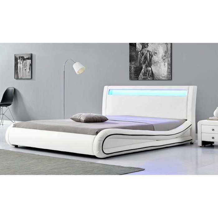 Lit richmond cadre de lit en simili blanc avec led int gr es 140x190cm a - Cadre de lit cdiscount ...