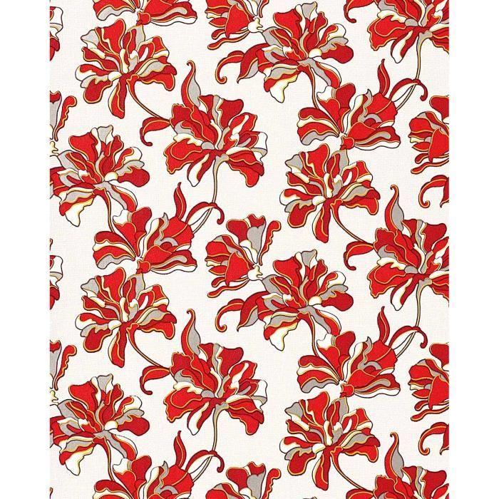 papier peint design r tro motif floral fleurs edem 072 26 gris clair rouge blanc jaune argent. Black Bedroom Furniture Sets. Home Design Ideas