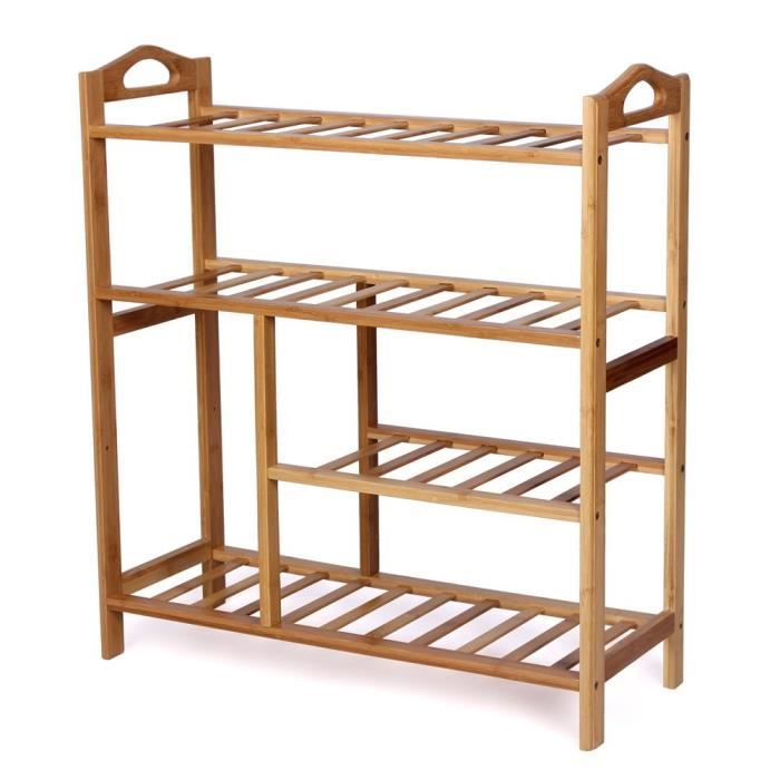 Tag re chaussures 100 bambou naturel 4 tages rangement chaussure placement pour - Etagere a chaussure ...