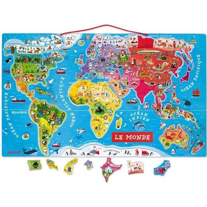 Puzzle monde magn tique 92 pi ces achat vente puzzle for Planisphere pour enfant
