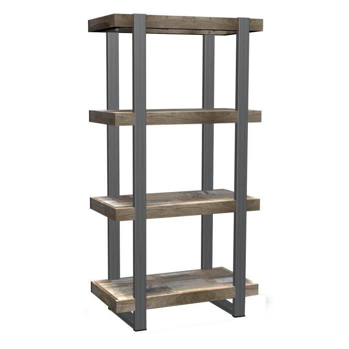 etag re avec 3 niches en teck recycl et m tal achat. Black Bedroom Furniture Sets. Home Design Ideas