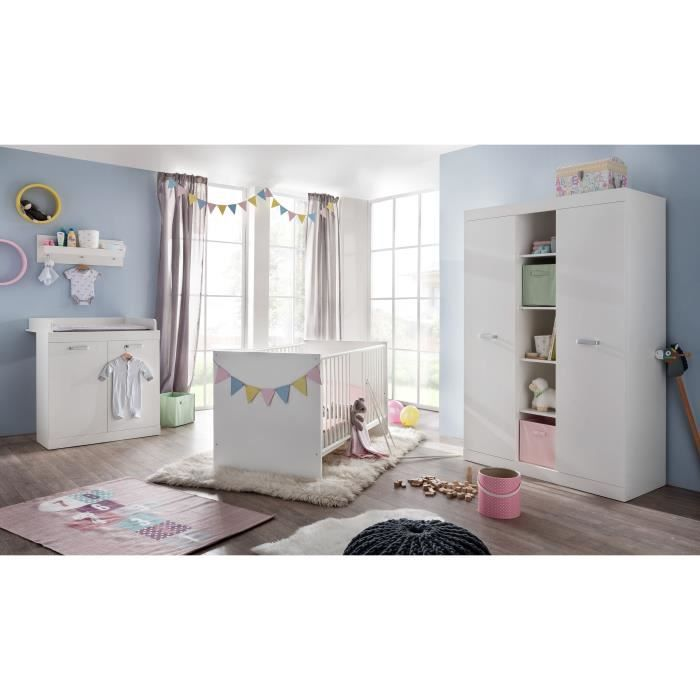 Ronja chambre compl te 3 pi ces lit armoire commode for Achat chambre complete