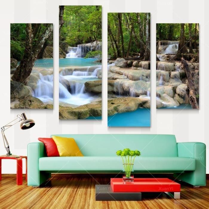 maison decoration accessoires unframed pcs cascade toile paysage peinture a l f  auc