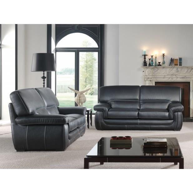 canap cuir 3 2 noir achat vente canap sofa divan cdiscount. Black Bedroom Furniture Sets. Home Design Ideas