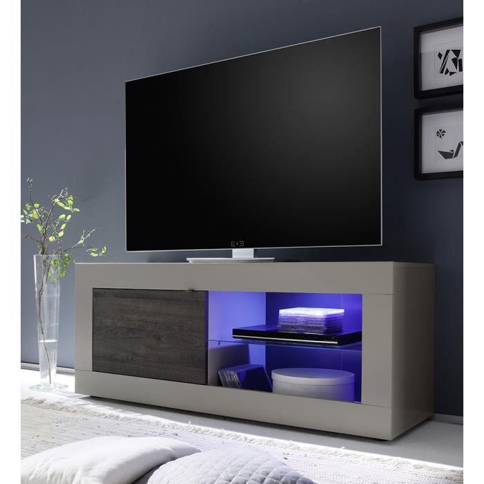 Meuble tv taupe et weng moderne avec option clairage led - Meuble tv wenge et verre ...