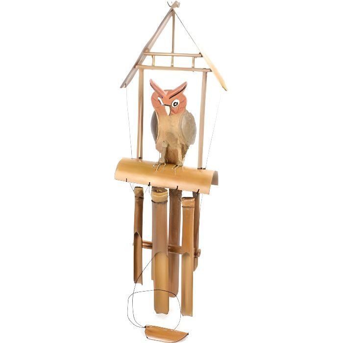 carillon vent artisanal en bambou d cor chouette hibou achat vente carillon vent. Black Bedroom Furniture Sets. Home Design Ideas