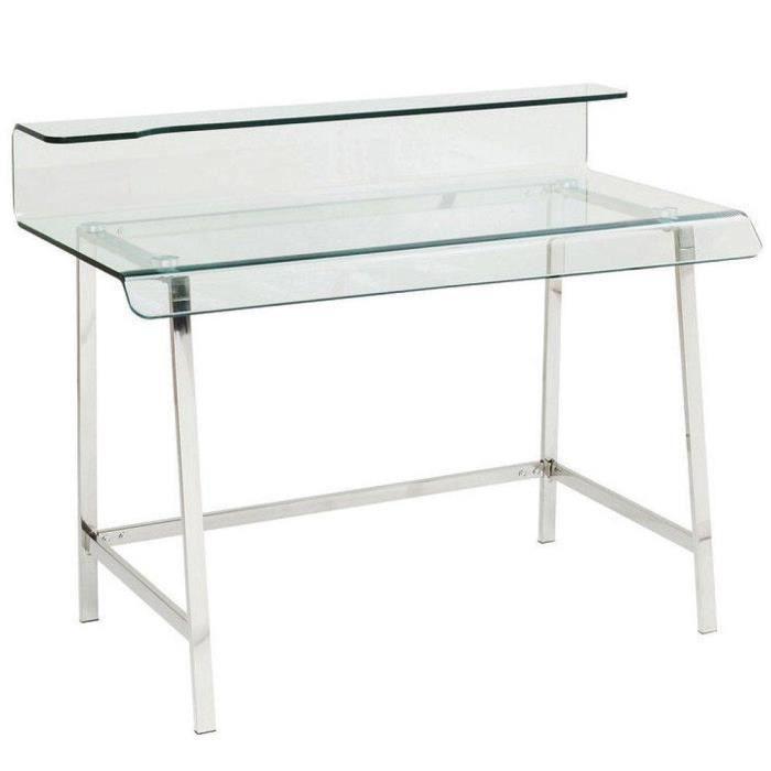 Bureau clear en verre et acier inoxydable achat vente for Meuble bureau verre acier